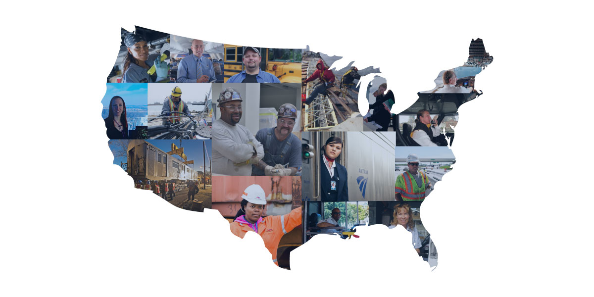 Map of U.S. with workers